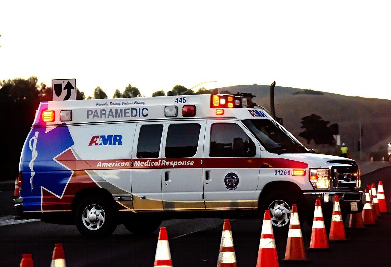 ambulance and traffic cones